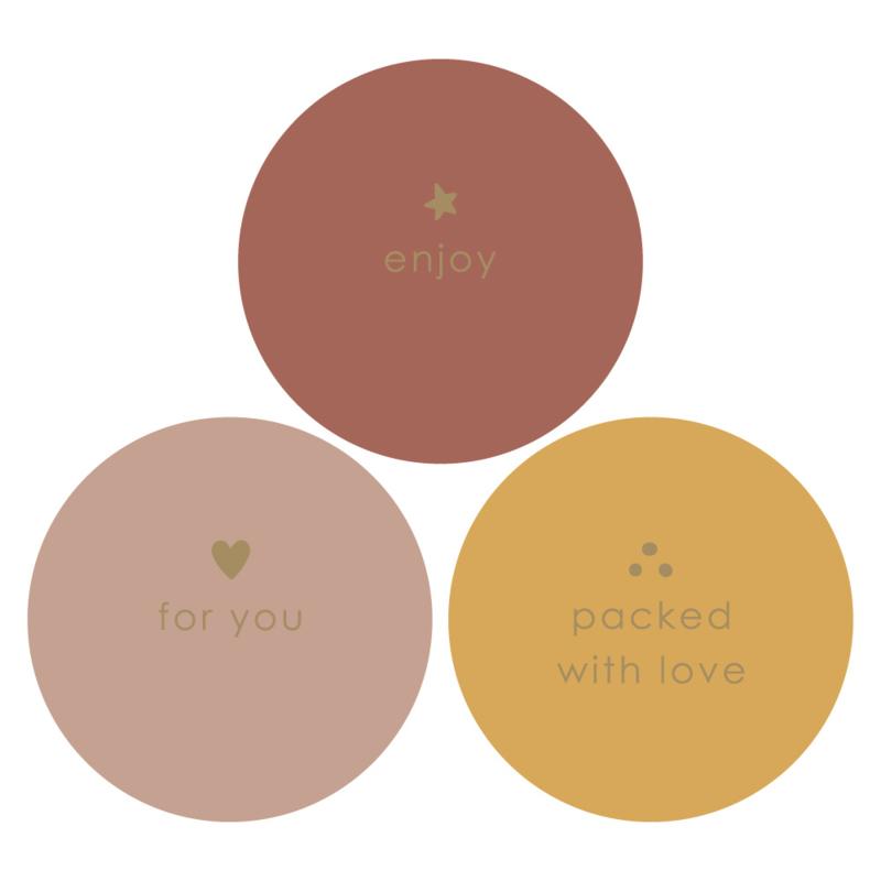 Stickers gekleurd met goudfolie tekst - 12 stuks
