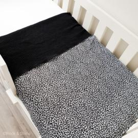 Ledikantdeken leopard - black