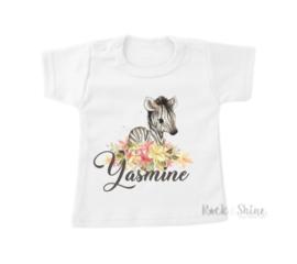 Shirt wild zebra met naam