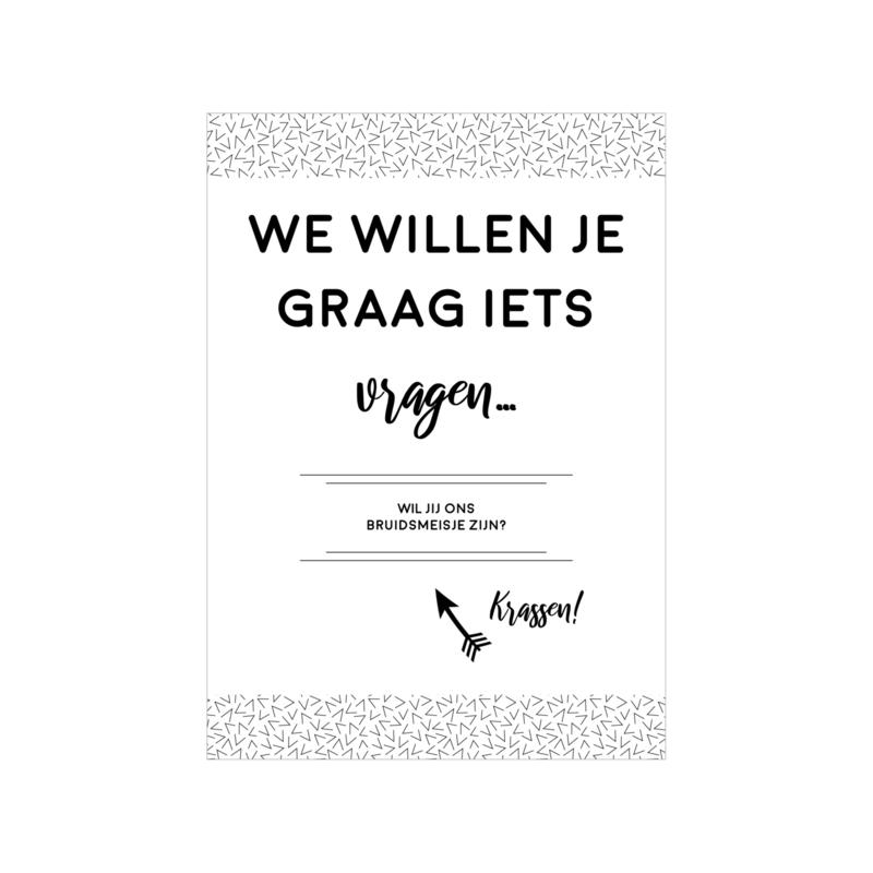 Kraskaart | Wil jij ons bruidsmeisje zijn?