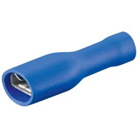 10 STUKS BLAUW, vlaksteker 6.3 mm breed, draad dikte tot 2.5 mm2, Geisoleerd.