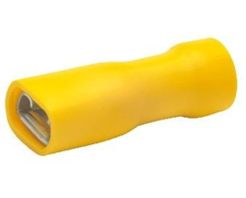 10 STUKS GEEL, vlaksteker 6.3 mm breed, draad dikte tot 4 mm2, Geisoleerd.
