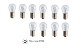 10 Stuks autolamp, 21 watt, 12 volt, wit, fitting model BA15S