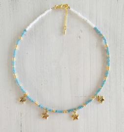Ketting,  blauwe/goud kralen, ster