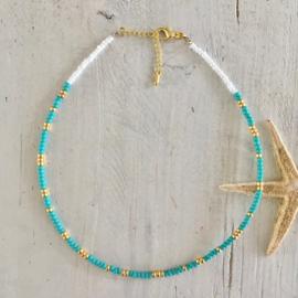 Ketting turquoise/goud