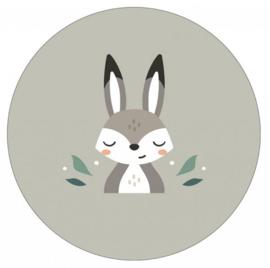Muurcirkel konijntje groen 40 cm