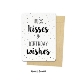 Ansichtkaart Hugs, kisses & birthday wishes