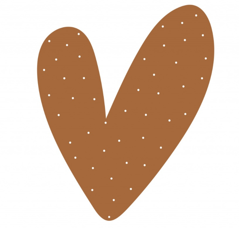 Hart hazel bruin stippen 40 cm