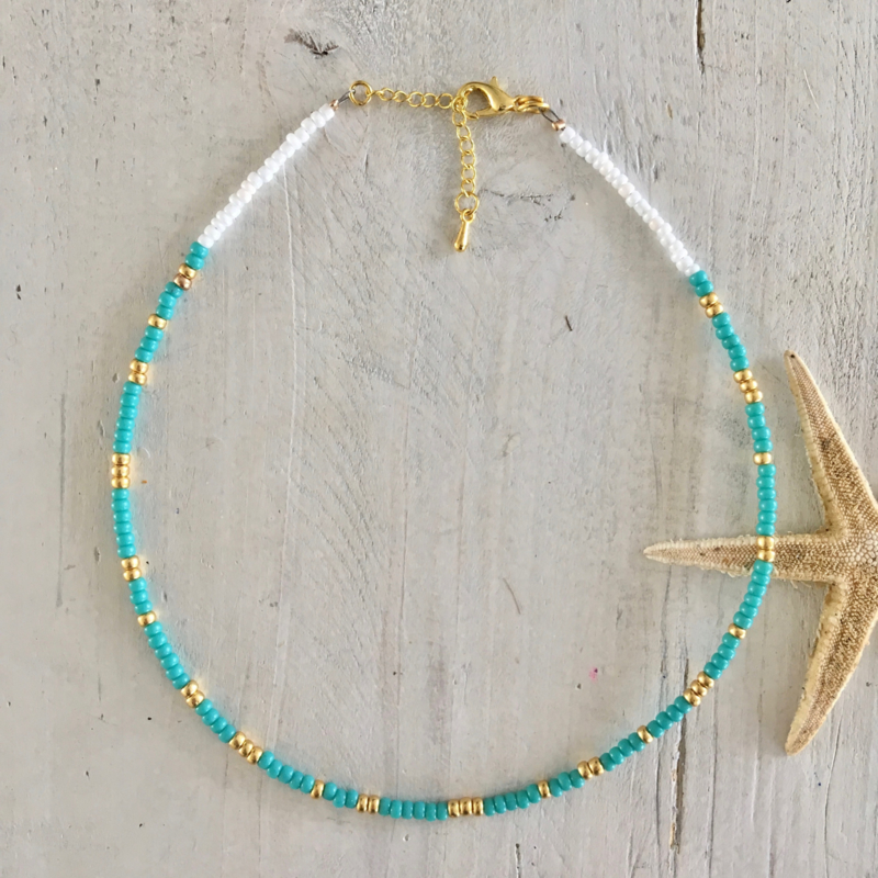 Ketting turquoise/goud