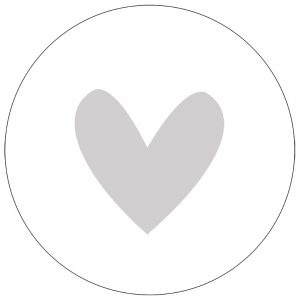 Muurcirkel hart grijs 30 cm