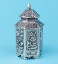 Silver tea caddy.
