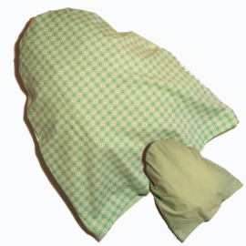 Slaapmutsje Bloem groen/ effen