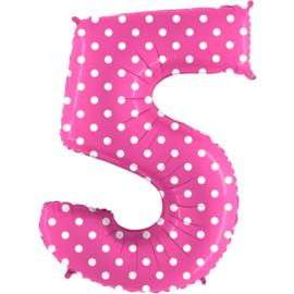 Cijfer 5 roos dots