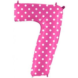 Cijfer 7 roos dots