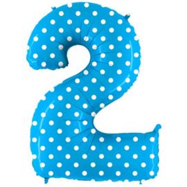 Cijfer 2 blauw dots