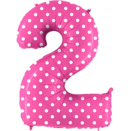 Cijfer 2 roos dots