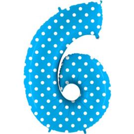 Cijfer 6 blauw dots
