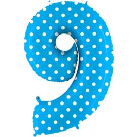 cijfer 9 blauw dots