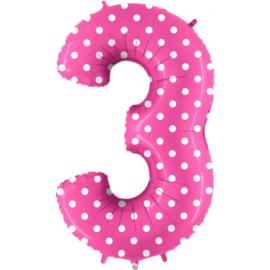 Cijfer 3 roos dots