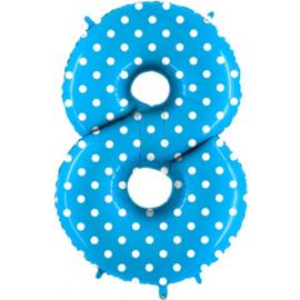 Cijfer 8 blauw dots