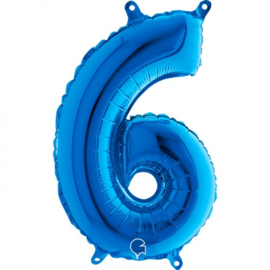Cijfer 6 blauw