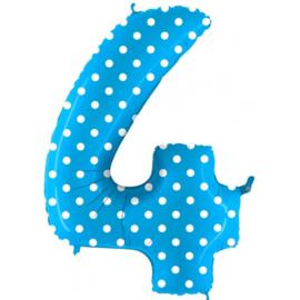 Cijfer 4 blauw dots