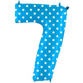 Cijfer 7 blauw dots