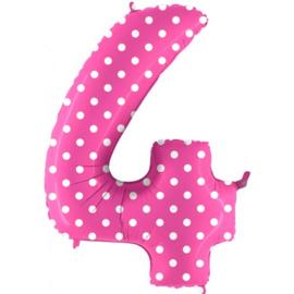 Cijfer 4 roos dots