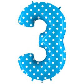 Cijfer 3 blauw dots