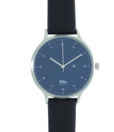 Tyno horloge zilver blauw 201-003 zwart