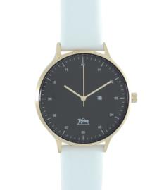 Tyno horloge Rosé goud zwart 201-005 wit