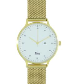 Tyno horloge Goud wit 201-007 mesh