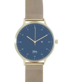 Tyno horloge Rosé goud blauw 201-006 mesh