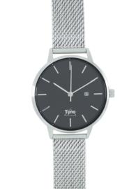 Tyno horloge zilver zwart 101-002 mesh