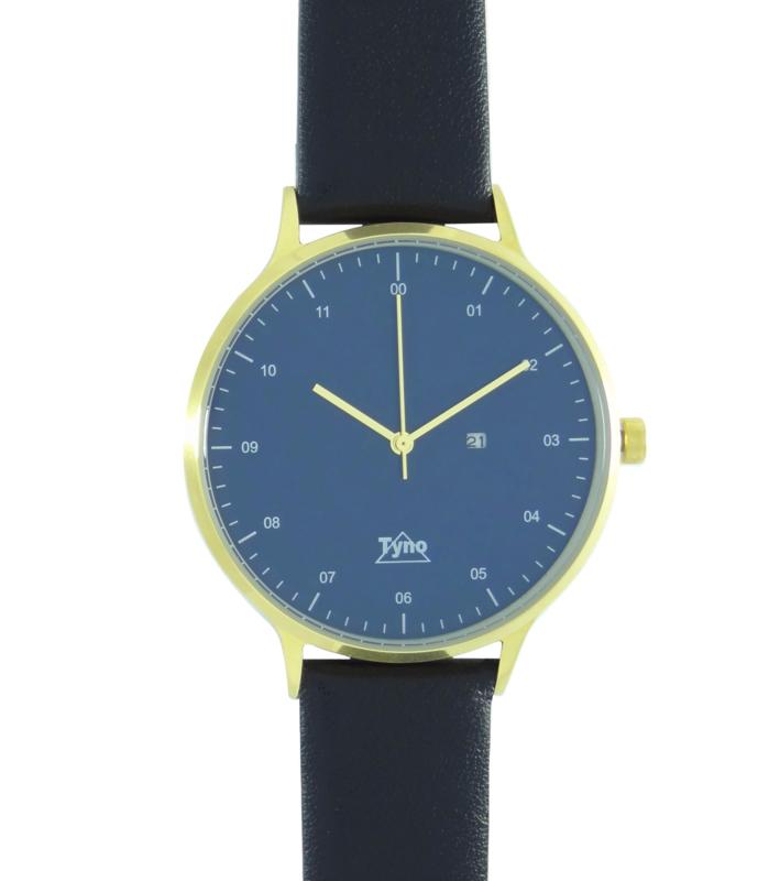Tyno horloge Goud blauw 201-009 zwart