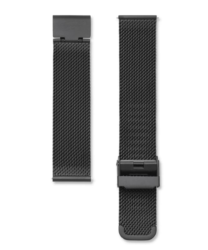Edelstalen mesh horlogeband zwart 18mm