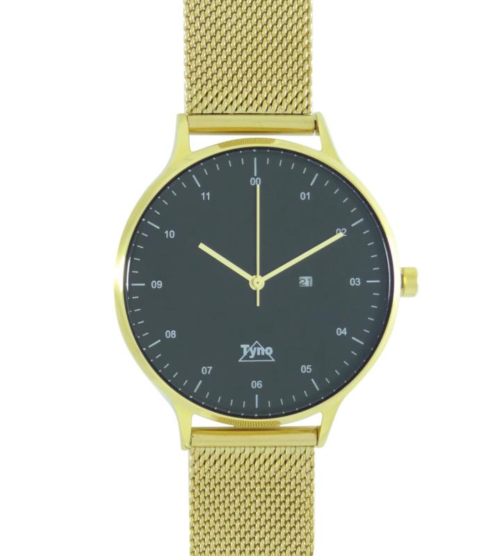 Tyno horloge Goud zwart 201-008 mesh