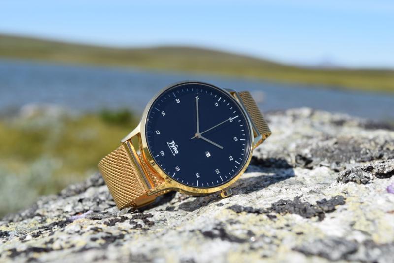 Tyno horloge Rosé goud zwart 201-005 mesh