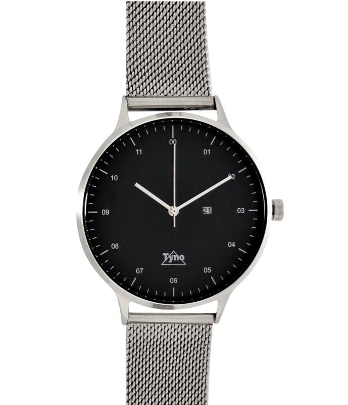 Tyno horloge zilver zwart 201-002 mesh