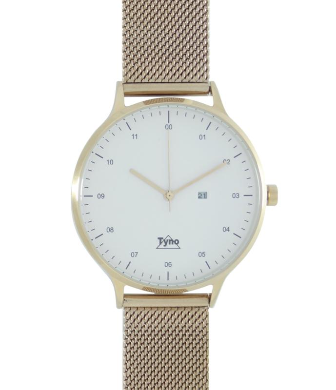 Tyno horloge Rosé goud wit 201-004 mesh