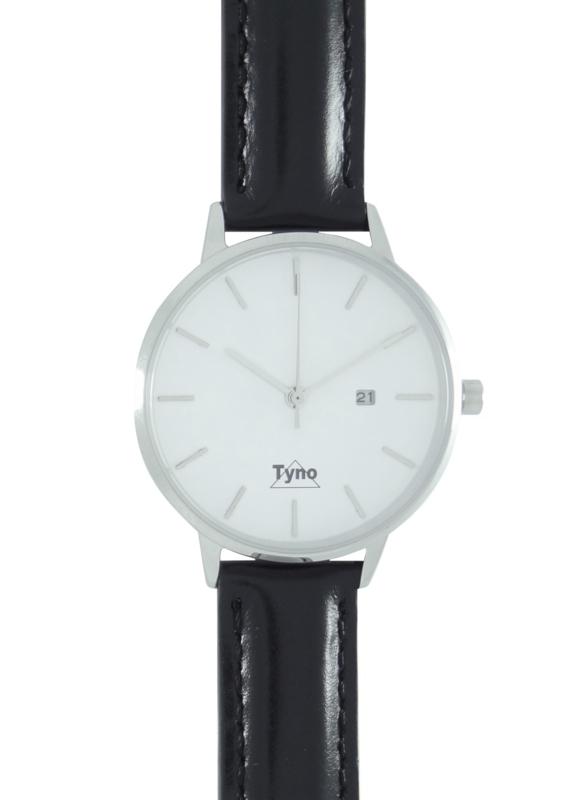 Tyno horloge zilver wit 101-001 zwart
