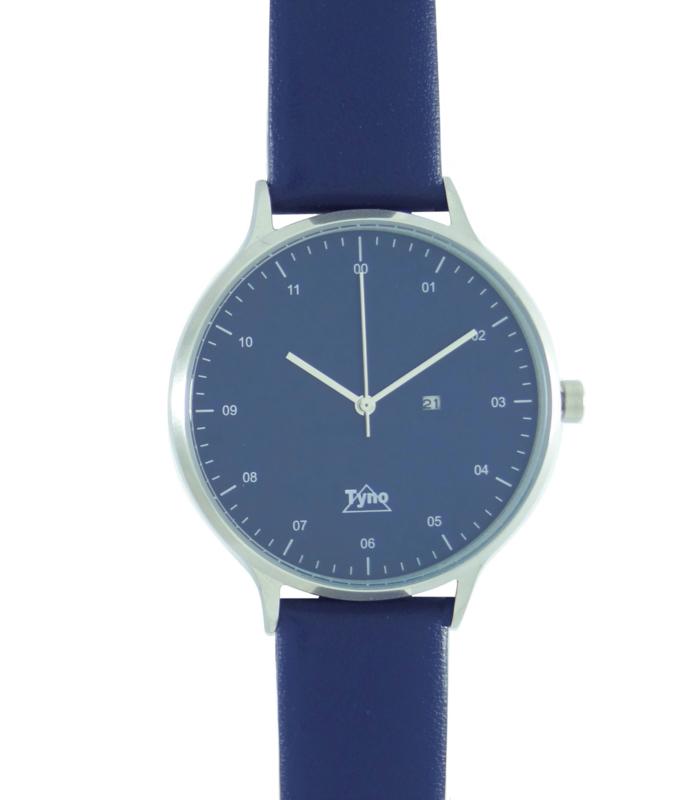 Tyno horloge zilver blauw 201-003 blauw