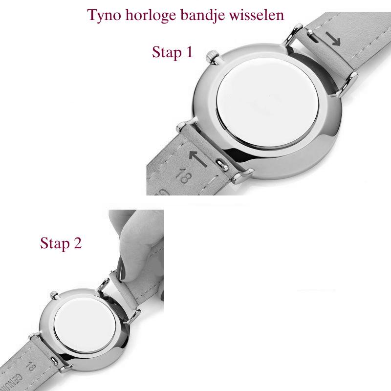 Tyno horlogeband leer Blauw