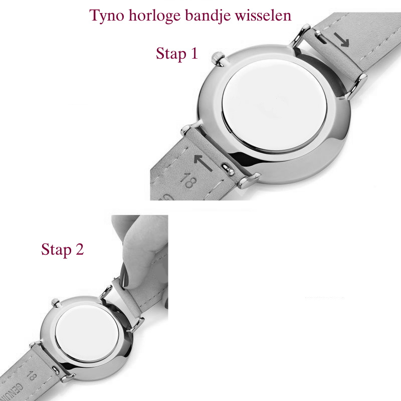 Tyno horlogeband zwart leer