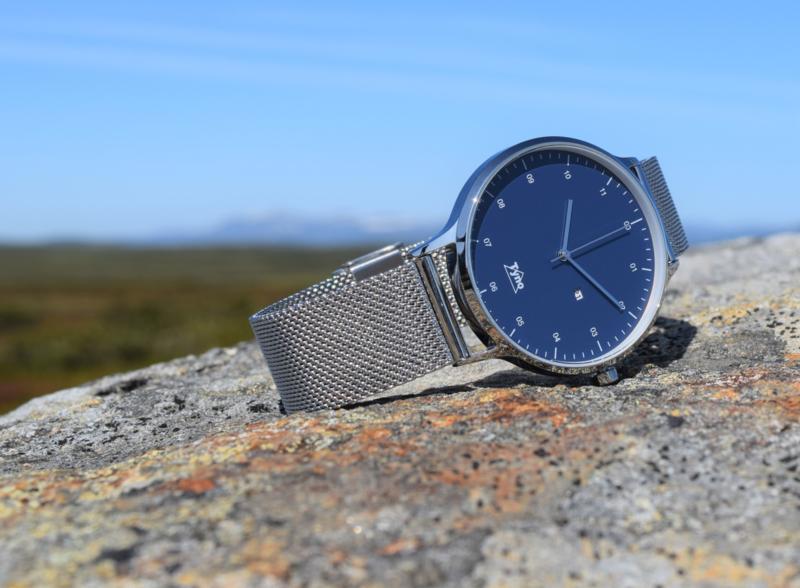 Tyno horloge zilver blauw 201-003 mesh