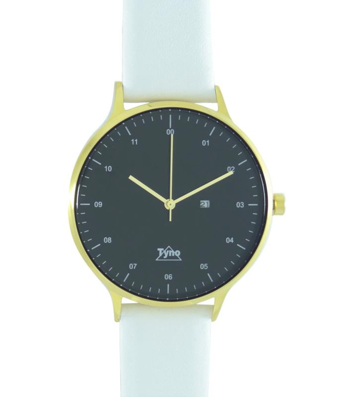 Tyno horloge Goud zwart 201-008 wit