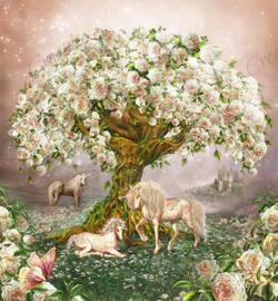 Unicorn Rose Tree - Artwork by Carol Cavalaris