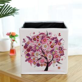 Stoffen opbergbak - roze boom