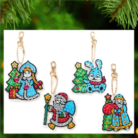 4 Shiny Kerstfiguren met blauwe accenten