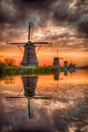 Sunrise Kinderdijk - by Karel Ton Photography 40 x 60 cm